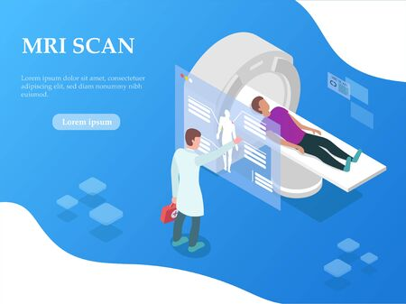 Conceptual Illustration of doctor giving patient an MRI scan. Vector illustration