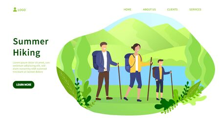 Summer camping concept and family hiking in forest