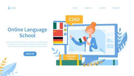 Illustrated online language school theme and teacher on screen. Vector illustration