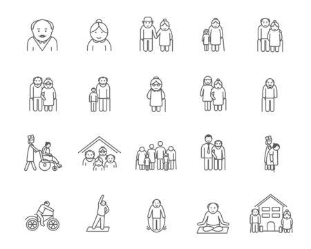 Illustrated series of aged people