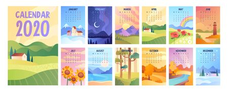 2020 Calendar with bunch of minimalist style landscapes