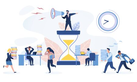Time management concept Multiracial office workers