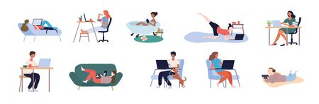 Set of people working from home 矢量图像