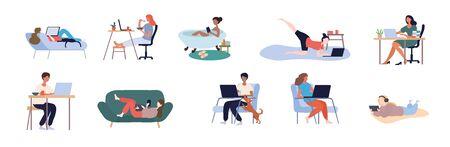 Set of people working from home 版權商用圖片 - 144841312