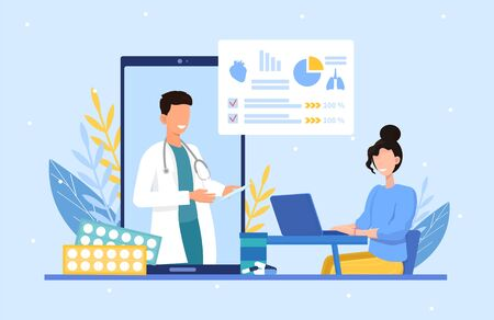 Online medical consultation with doctor on a digital screen and patient using a computer to communicate via an app or website, vector illustration