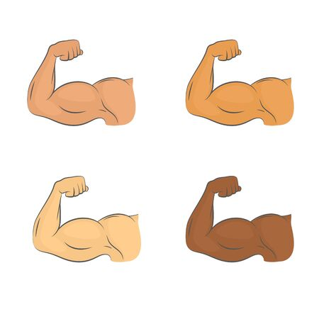Set of flexed biceps colored icons