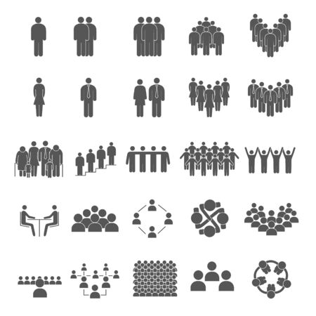 Set of grouping people icons