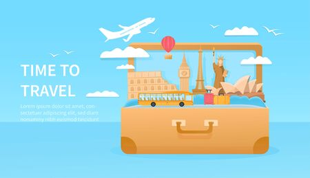 Travelling concept with giant suitcase