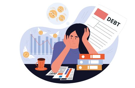 Business woman worried while analyzing her debts