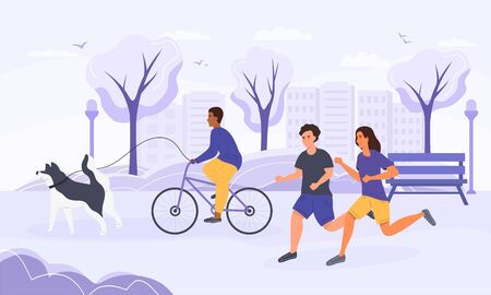 Active life concept with joggers and cyclist  イラスト・ベクター素材