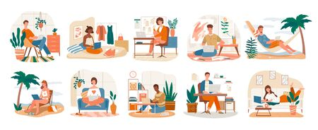 Freelance Character set showing ten scenes of people at work on laptops at the seaside, in an office and at home, vector illustration Illustration