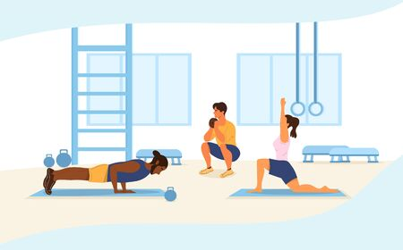 Health and fitness concept with people working out