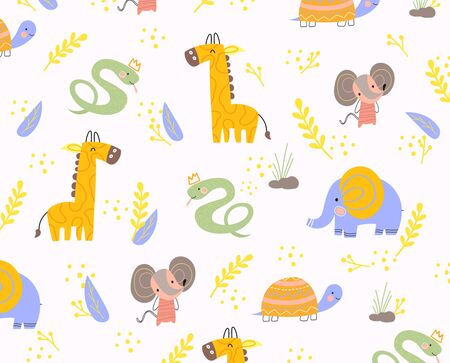 Colorful background pattern of animals