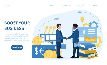 Boost Your Business as two diverse businessmen shake hands over partnership or deal surrounded by business and money icons, large pre-existing databases in order to generate new information.