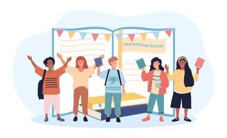 Happy group of multiracial students waving and cheering in front of an open book at an International School, colored vector illustration Vetores