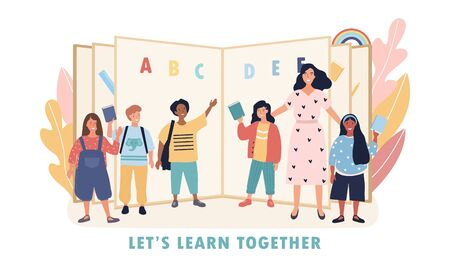Lets Learn Together concept with diverse kids and teacher standing together in a group in front of an open ABC primary school alphabet book, colored vector illustration