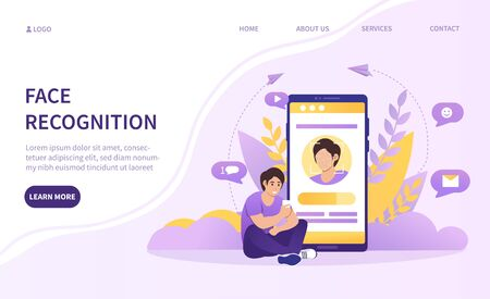 Digital face recognition technology concept with a young man sitting in front of a mobile phone with app showing his face on the screen, colored vector illustration with copy space