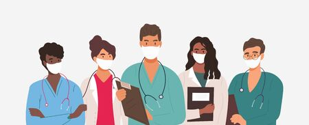 Diverse group of medics or health workers 向量圖像