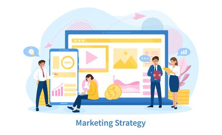 Business Marketing Strategy concept with a business team in a planning and development meeting in front of a mobile phone and laptop showing data, colored vector illustration