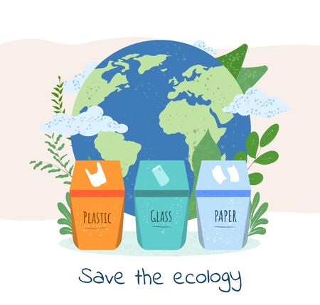 Save The Ecology and Planet by recycling concept with three recycle bins for plastic, glass and paper in front of a world globe with text below, colored vector illustration