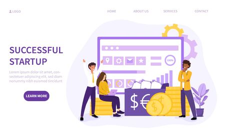 Succesfull startup concept with multiracial Illustration