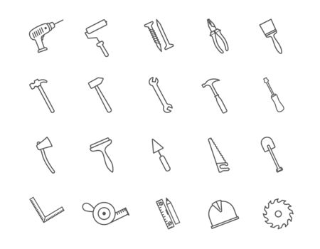 Large set of hardware or hand tools icons 일러스트