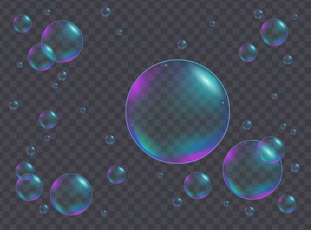 Realistic iridescent bubbles of different sizes