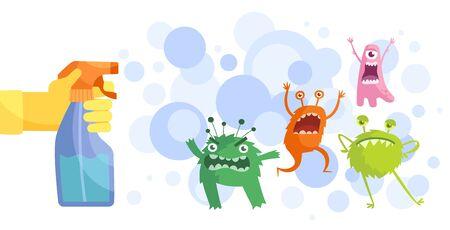 Colorful cartoon bacteria and anti-bacterial spray Ilustración de vector