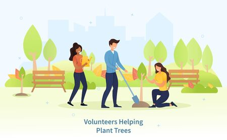 Group of diverse young friends planting trees in a park to combat global warming, colored vector illustration