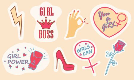 Femininity and Girl Power sticker set