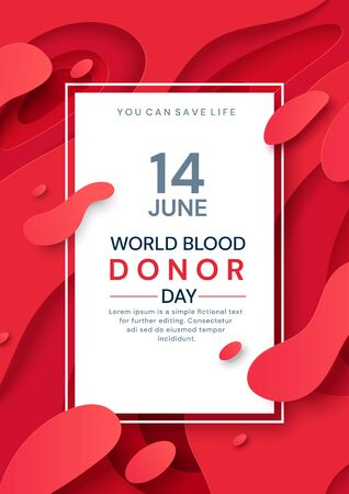 Colorful poster design for June 14 Blood Donor Day Illustration
