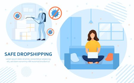 Safe Drop Shipping concept with woman ordering
