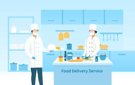 Two chefs preparing food for a Delivery Service Ilustracja