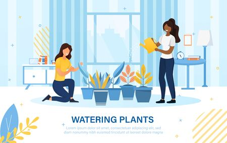 Two diverse young woman watering household plants