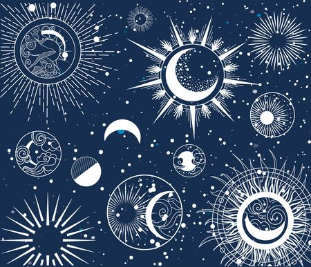 Decorative intricate background astrological pattern of the moon phases over a midnight blue background, colored vector illustration Фото со стока - 147301915