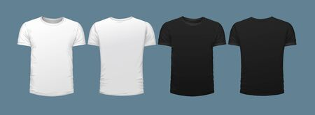 Set of four T-shirts, two black, two white