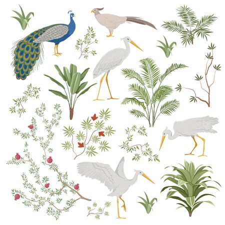 Set of design elements for exotic Chinoiserie  イラスト・ベクター素材