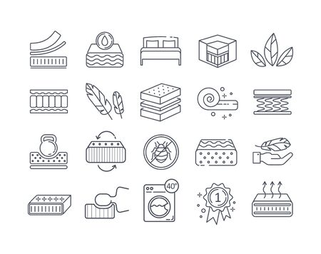 Large set of line drawn Mattress icons
