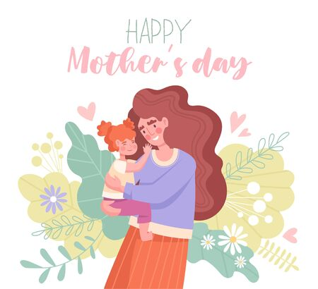 Mothers Day card design with mother and baby Vettoriali