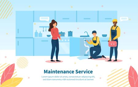 Maintenance Service scene with housewife and two plumbers fixing the kitchen sink with copy space, colored vector illustration