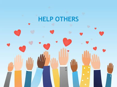 Help Others concept with a group of diverse people Vectores