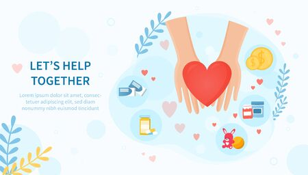Lets Help Together concept with helping hands