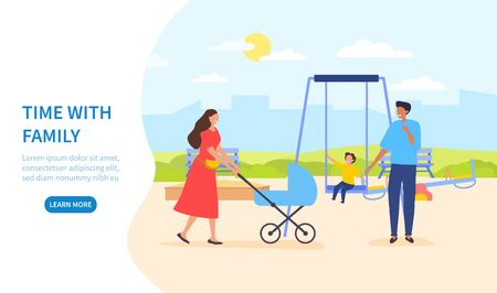 Time with family illustration template