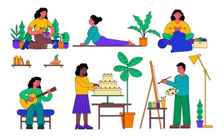 Set of diverse people in assorted hobby activities Ilustração Vetorial