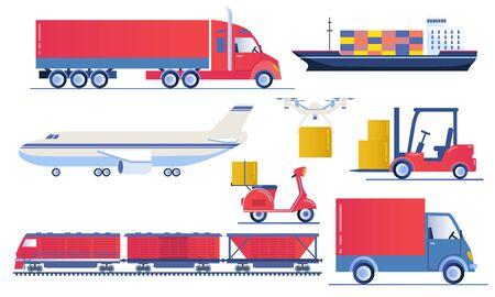 Set of transport logistics designs Ilustracja