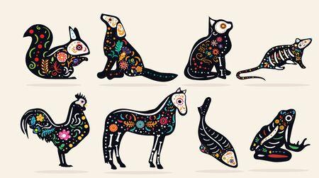 Set of eight pet Dia de Muertos designs Иллюстрация