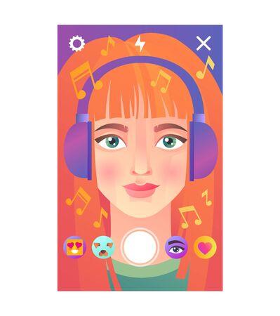 Young woman social media mask design Ilustração