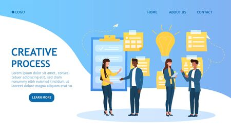 Creative Process in business concept with a diverse group of colleagues standing brainstorming new ideas and projects with lightbulb and pinned notices on the wall, colored vector illustration