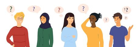 Set of five diverse thoughtful people with puzzled or quizzical expressions and floating question marks on white, colored vector illustration