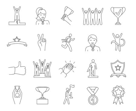 Large set of sketched Winners icons  イラスト・ベクター素材